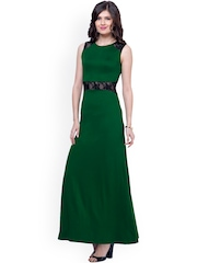 FabAlley Green Maxi Dress with Lace Detail