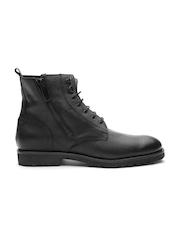 Antony Morato Men Black Textured High-Top Flat Boots
