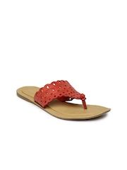 Bata Women Red Cut-Out Flats