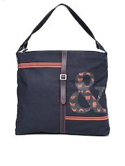 Baggit Navy Printed Oversized Shoulder Bag