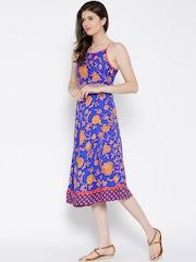BIBA Blue Floral Print Fit & Flare Dress