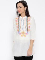 BIBA White Printed Tunic
