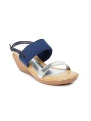 Bata Women Silver-Toned & Blue Wedges