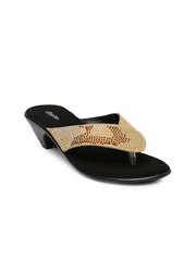 Bata Women Beige Embellished Heels