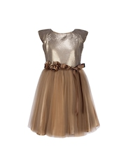 CUTECUMBER Girls Brown Fit & Flare Dress