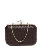 DressBerry Brown Woven Box Clutch