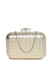 DressBerry Muted Gold-Toned Woven Box Clutch