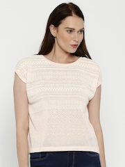 Elle Women Cream-Coloured High-Density Print Polyester Top
