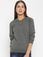 Monte Carlo Women Grey Solid Woollen Cardigan