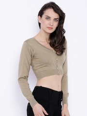 Monte Carlo Women Brown Solid Crop Sweater