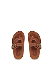 Beanz Boys Brown Leather & Suede Sandals