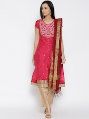 Trishaa by Pantaloons Pink & Beige Embroidered Kurta with Trousers & Dupatta