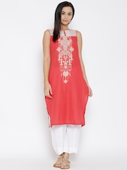 RANGMANCH BY PANTALOONS Women Coral Orange Printed Kurta