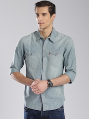 Levis Men Blue Slim Fit Washed Casual Shirt