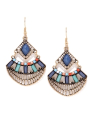 Anouk Antique Gold-Toned & Blue Beaded Drop Earrings