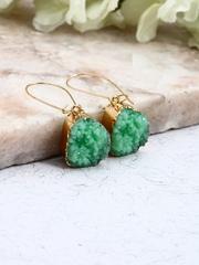 DressBerry Gold-Toned & Green Beaded Drop Earrings