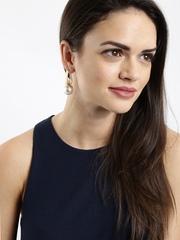 DressBerry Gold-Toned & White Beaded Drop Earrings