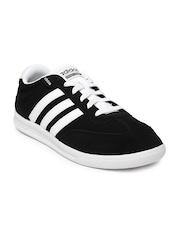 Adidas NEO Men Black Cross Court Suede Sneakers