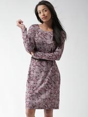 SELA Wine-Coloured & Grey Printed Belted Dress
