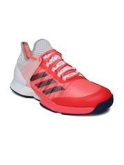 Adidas Men Pink & White ADIZERO UBERSONIC 2 Tennis Shoes
