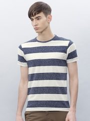 ETHER Men Navy Blue Striped T-Shirt