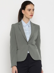 Allen Solly Woman Grey Single-Breasted Formal Blazer