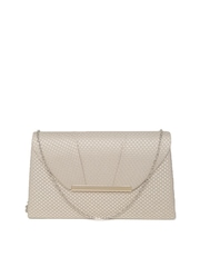 Accessorize Beige Patterned Clutch with Chain Strap