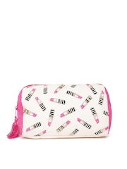 Accessorize Women Pink Lipstick Print Embellished Pouch