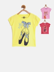 CHALK by Pantaloons Pack of 3 Girls Printed Round Neck T-Shirts