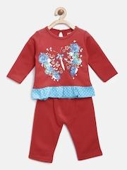 Pepito Girls Red Printed Clothing Set