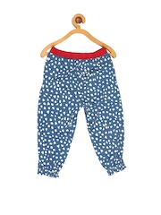 My Lil Berry Girls Blue Printed Trousers