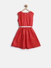 StyleStone Girls Red Lace Fit & Flare Dress