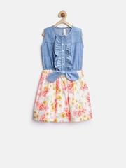 StyleStone Girls Blue Printed Fit & Flare Dress