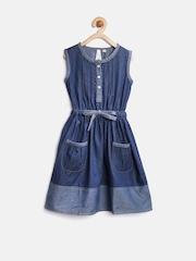 StyleStone Girls Navy Denim Fit & Flare Dress