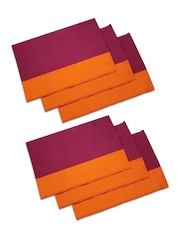 Sanjeev Kapoor Purple & Orange Set of 6 Table Placemats