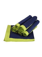"Sanjeev Kapoor Bon Appetit Blue & Green Set of 6 Square (16"" x 16"") Cotton Table Napkins"