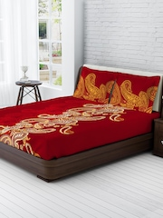 Tangerine Maroon 120 TC Cotton Double Bedsheet with 2 Pillow Covers