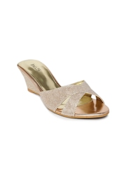 Inc.5 Women Bronze-Toned Shimmery Wedges