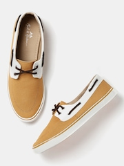 Mast & Harbour Men Tan Brown & Off-White Boat Shoes