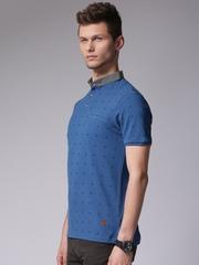 True Blue Men Blue Printed Polo T-Shirt