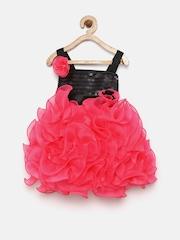 YK Girls Pink Solid A-Line Dress