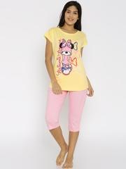 July Nightwear Yellow & Pink Printed Nightsuit MD002