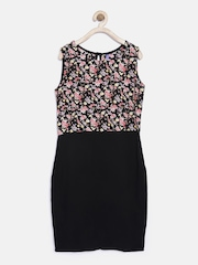 YK Girls Black Printed Sheath Dress