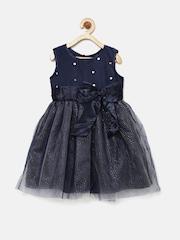 YK Girls Navy Blue Fit & Flare Dress