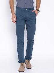 Slub Men Blue Slim Fit Chino Trousers