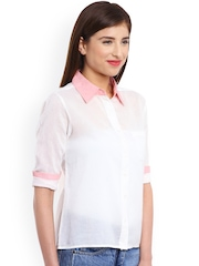 Miss Chick White Sheer Comfort Fit Shirt