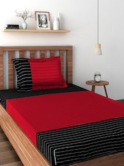 SWAYAM Black & Red Cotton 180 TC Single Bedsheet with 1 Pillow Cover