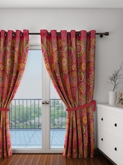 SWAYAM Pink Single Room Darkening Door Curtain