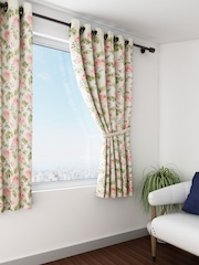 SWAYAM Off-White & Pink Single Printed Window Curtain