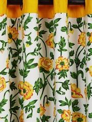 SWAYAM White & Yellow Single Floral Print Door Curtain